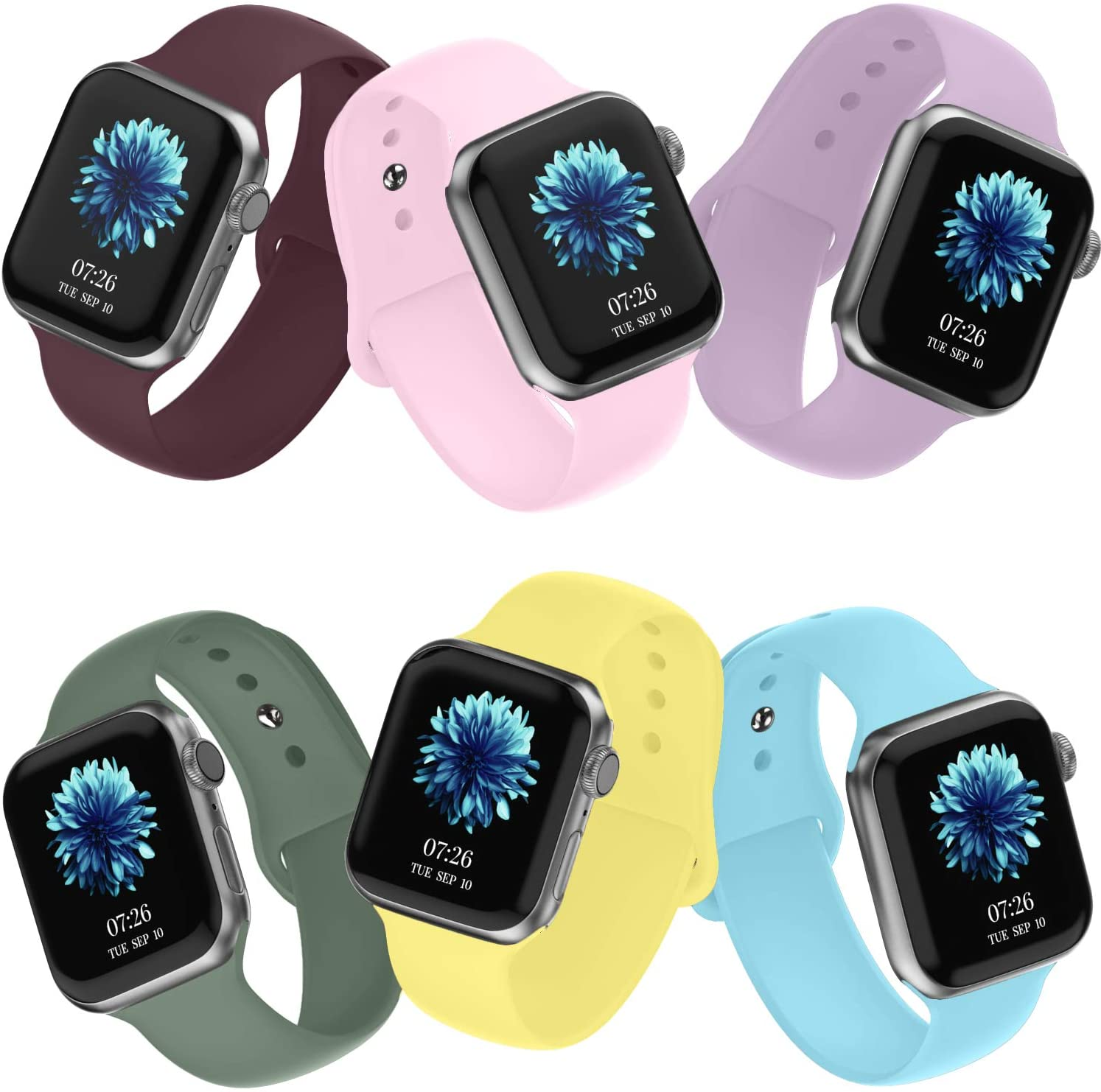 Recoppa 6 Pack Sport Bands Compatible for Apple Watch 44mm 38mm 40mm 42mm for Women Men, Soft Silicon Wristband Replacement Straps for Apple Smart Watch Series 5, 4, 3, 2, 1