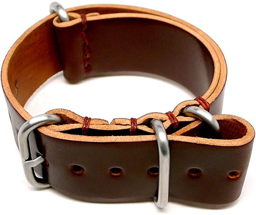 DaLuca Shell Cordovan Military Watch Strap - Color 4 (Matte Buckle) : 20mm
