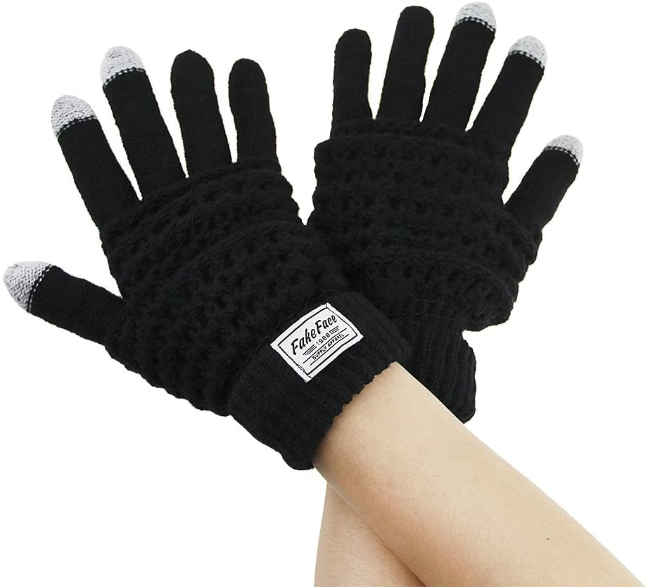 FakeFace Unisex Adults Knitted Touch Screen Gloves Winter Thermal Driving Cycling Hand Warmer