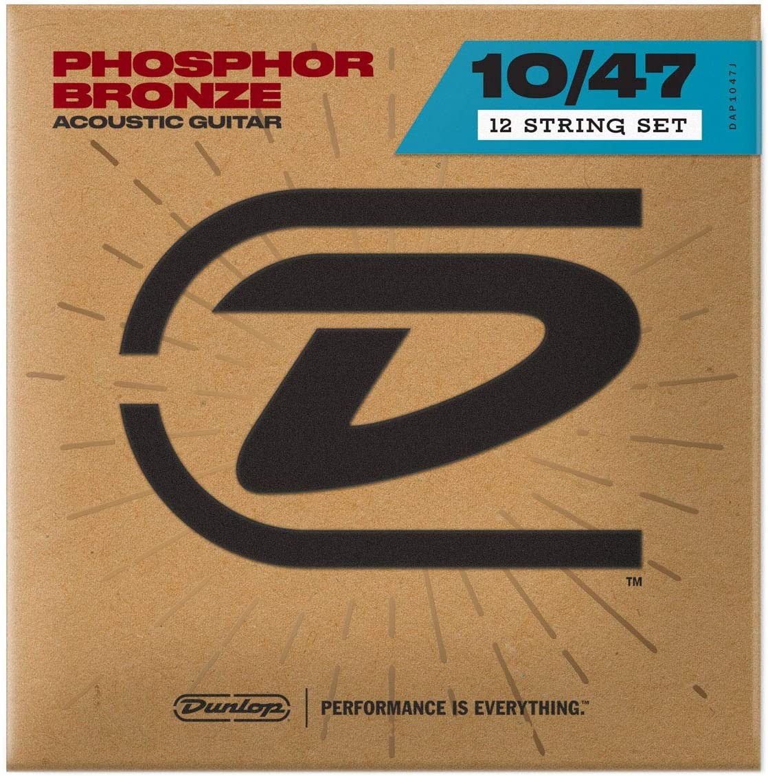 Dunlop DAP1047J Light Phosphor Bronze Acoustic Guitar Strings (0.10-0.47) 12-Strings Set