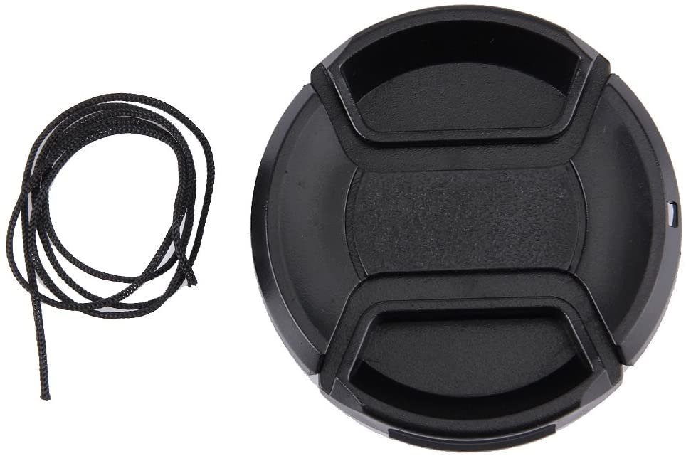 CAOMING 55mm Center Pinch Camera Lens Cap (Black) Durable