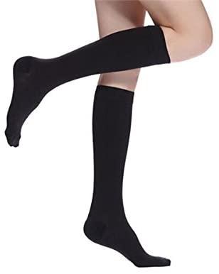 Compression Socks 30-40 mmHg by Stellar Way,Knee High,One Size-Ladies Shoe Size 4-10,Men Shoe Size 5-9,Black