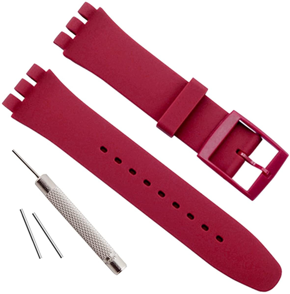OliBoPo Replacement Waterproof Silicone Rubber Watch Strap Watch Band for Swatch (17mm 19mm 20mm) (19mm, Dark Red)