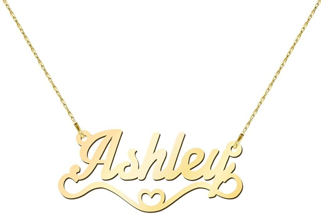 10K Heart Name Necklace by JEWLR