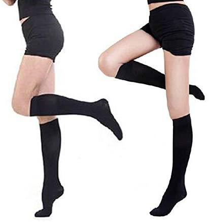 Super Soft Comfortable Black Knee length Compression Socks- XL/XXL, Perfect for Pregnant Woman,Trekking,Nurses,Long Flights and Travel,Pain and Swelling, Water Retention and Edema!