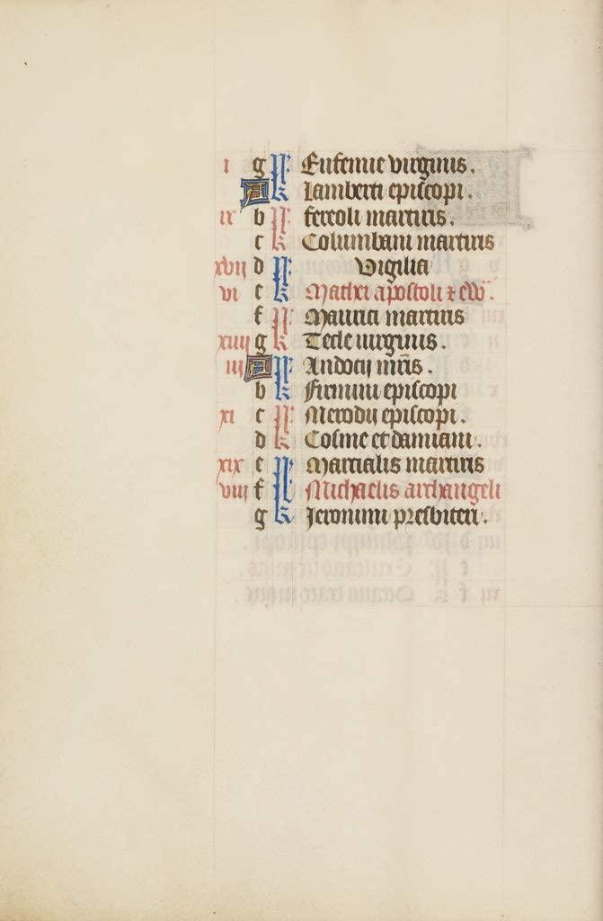Manuscripts Print - September Calendar Page continued - 24