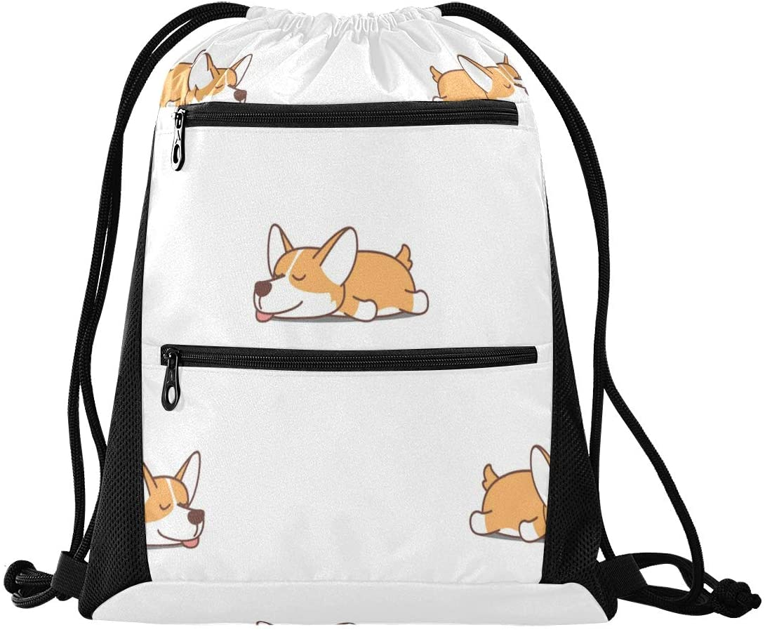 Drawstring Bag Lightweight Sport Gym Sackpack for Hiking Yoga Gym Swimming Travel Beach with Zipper Mesh Pockets
