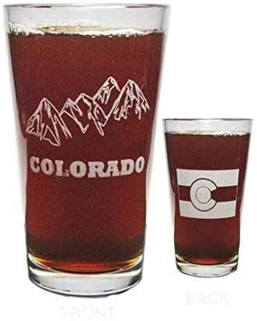 Colorado Mountains and Flag Engraved Beer Pint Glass - 16 oz - Permanently Etched - Fun & Unique Gift!
