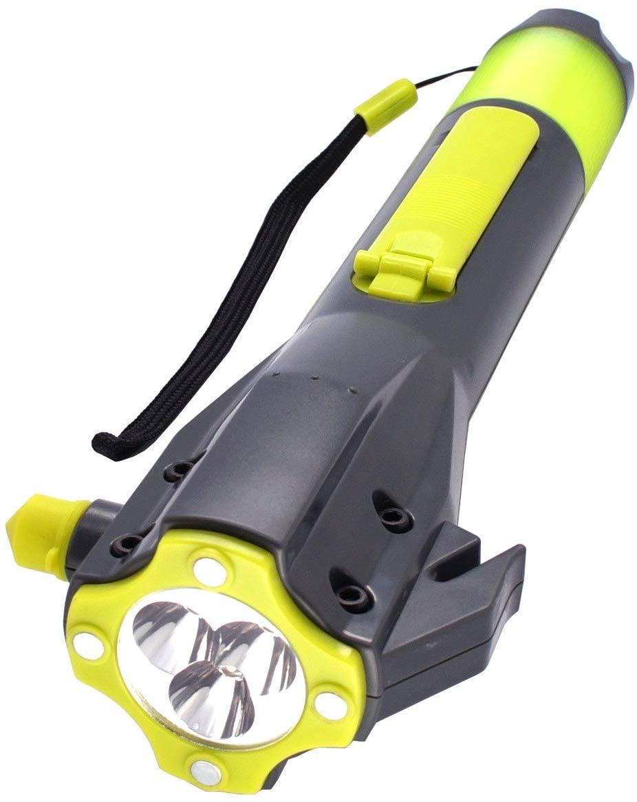 Emergency LED Flashlight, SOS Strobe, Windshield Hammer Window Breaker, Seatbelt Cutter,Waterproof,Rechargeable Hand Crank Flashlight, Cell Phone Charger for Hurricane Survival Kit