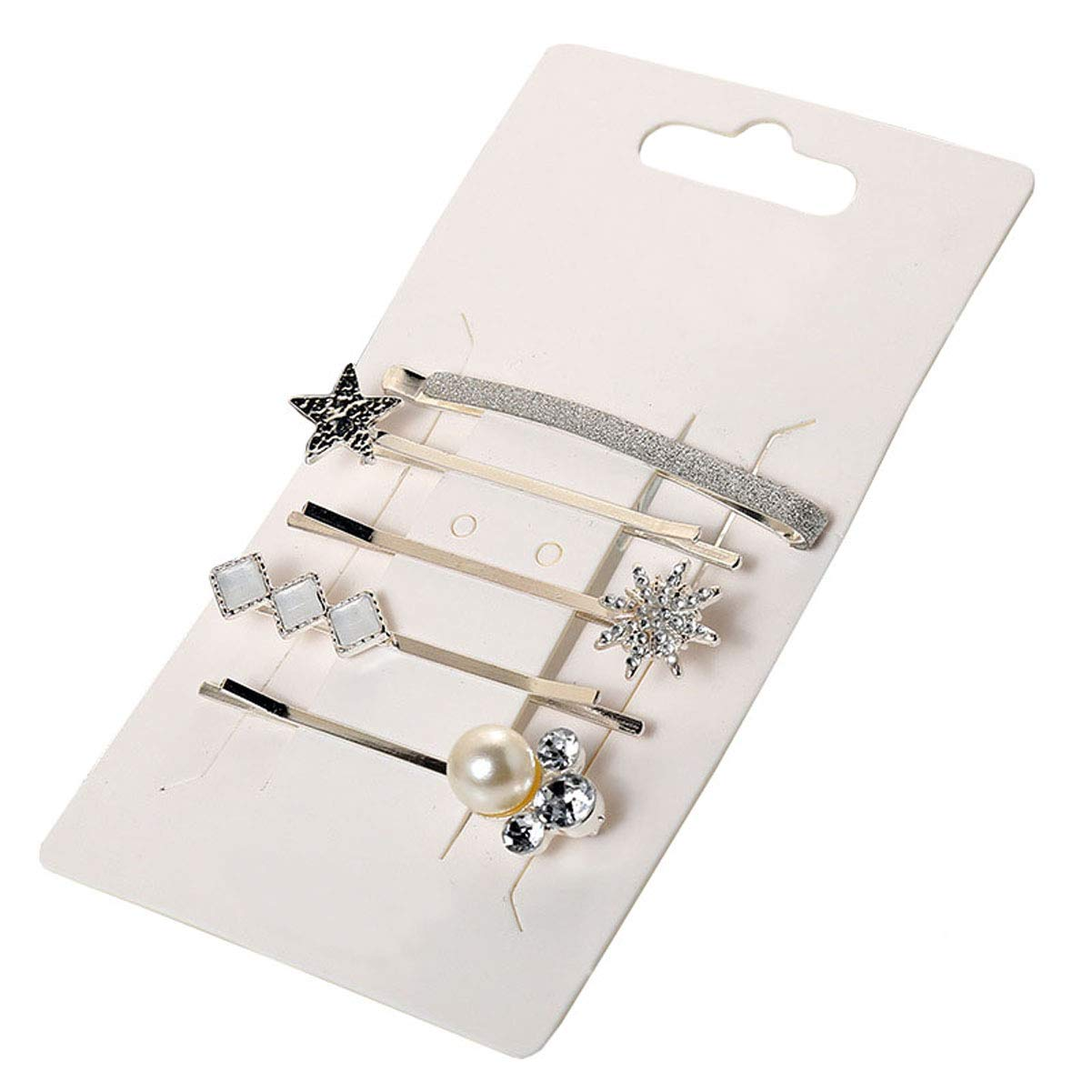 Hair Accessories Barrettes Bobby Pins - Set of 5Pcs Vintage Silver Rhinestone Artificial Pearl Hairpin Side Clip Hair Clip for Women