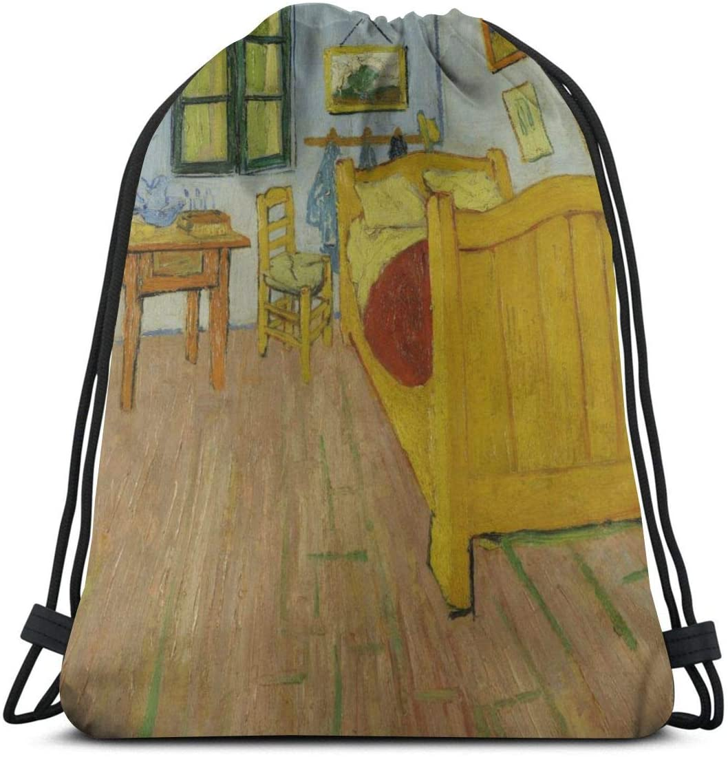Backpack Drawstring Bags Cinch Sack String Bag Van Gogh De Slaapkamer Sackpack For Beach Sport Gym Travel Yoga Camping Shopping School Hiking Men Women