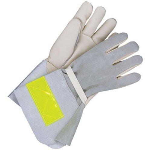 Bob Dale 64-9-1268FR-10 Premium Grain Palm Split Leather Back Utility Glove with Nomex, Size 10, Grey