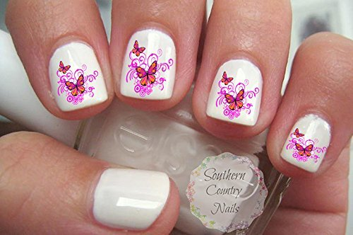 Butterfly Swirl Nail Art Decals