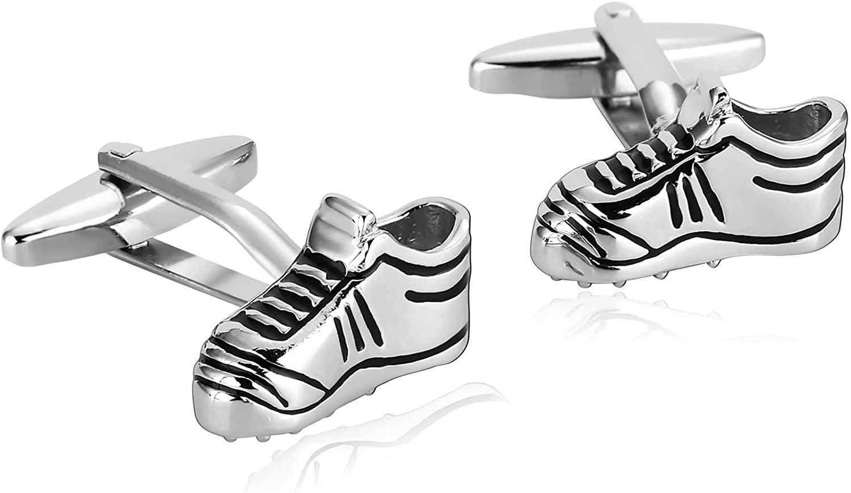 Aooaz Cufflink Buttons Stainless Steel Cufflinks Sport Shoes Cufflinks for A Groom Novelty Wedding Cufflinks Silver Black