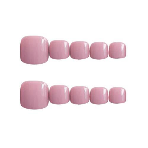 24pcs Short Fake Toenails Full Cover Acrylic False Toe Nails Press On Toenails for Women