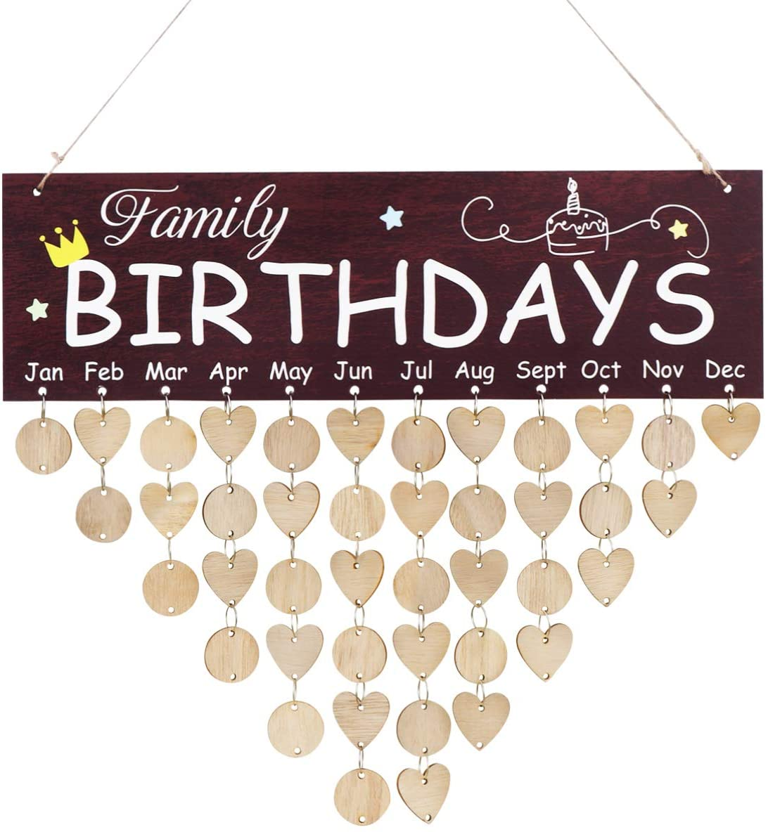 VOSAREA Family Birthday Board,Wooden DIY Calendar,Wall Hanging Calendar, Anniversary Birthday Reminder Plaque Memo Calendar Home Decor for Club Home Office