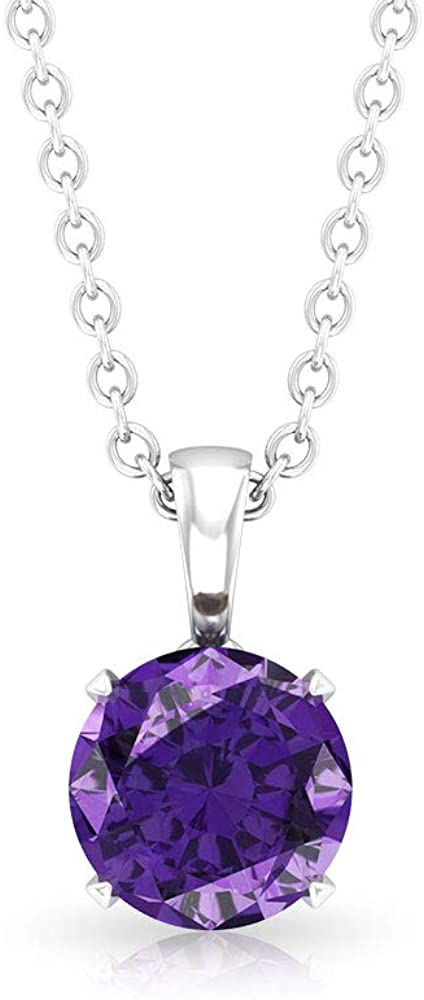 0.70CT Solitaire SGL Certified Amethyst Pendant Necklace, Minimal Purple February Birthstone Anniversary Pendant, 14k Gold Chain Charm Mother Day Gift