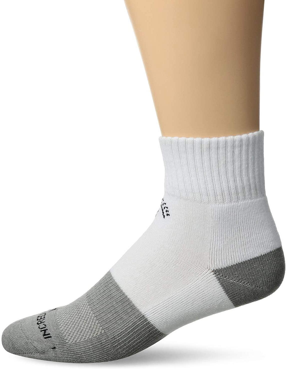 INCREDIWEAR Quarter Active Socks, White, Small, 0.03 Pound