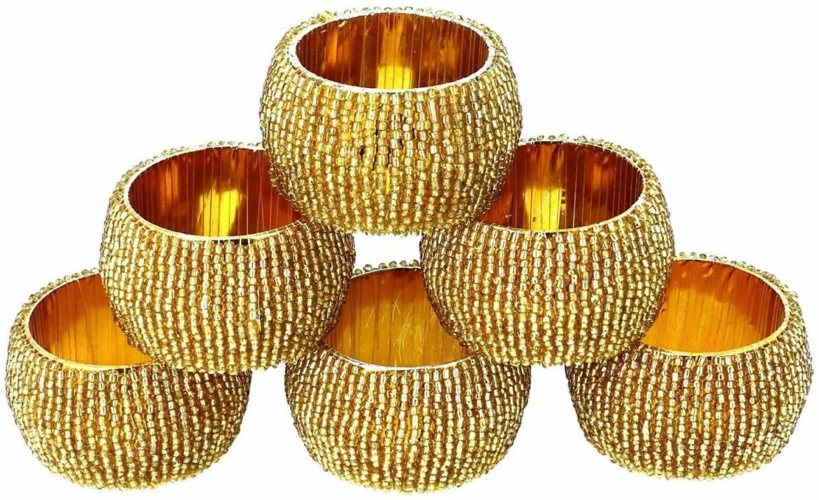 AsiaCraft Golden Beaded Napkin Rings - Set of 6 Rings