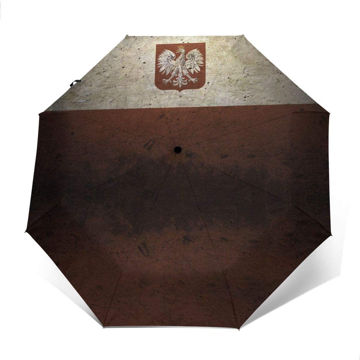 Vintage Poland Flag Windproof Automatic Folding Umbrella Tri-fold Umbrella