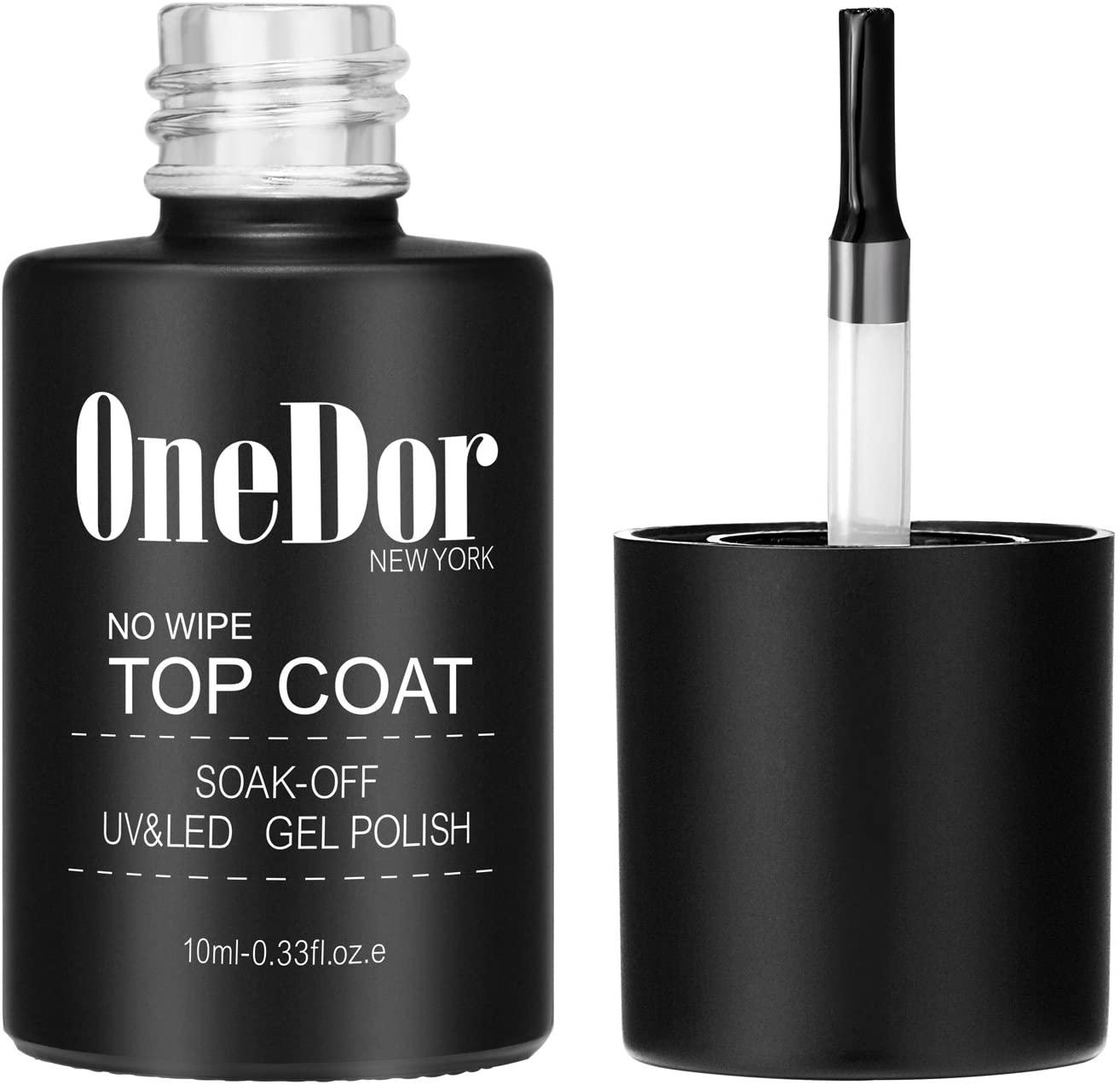OneDor One Step No Wipe Top Coat Gel Polish, UV Led Cured Required Soak Off Gel Nail Polish (No Wipe Top Coat)