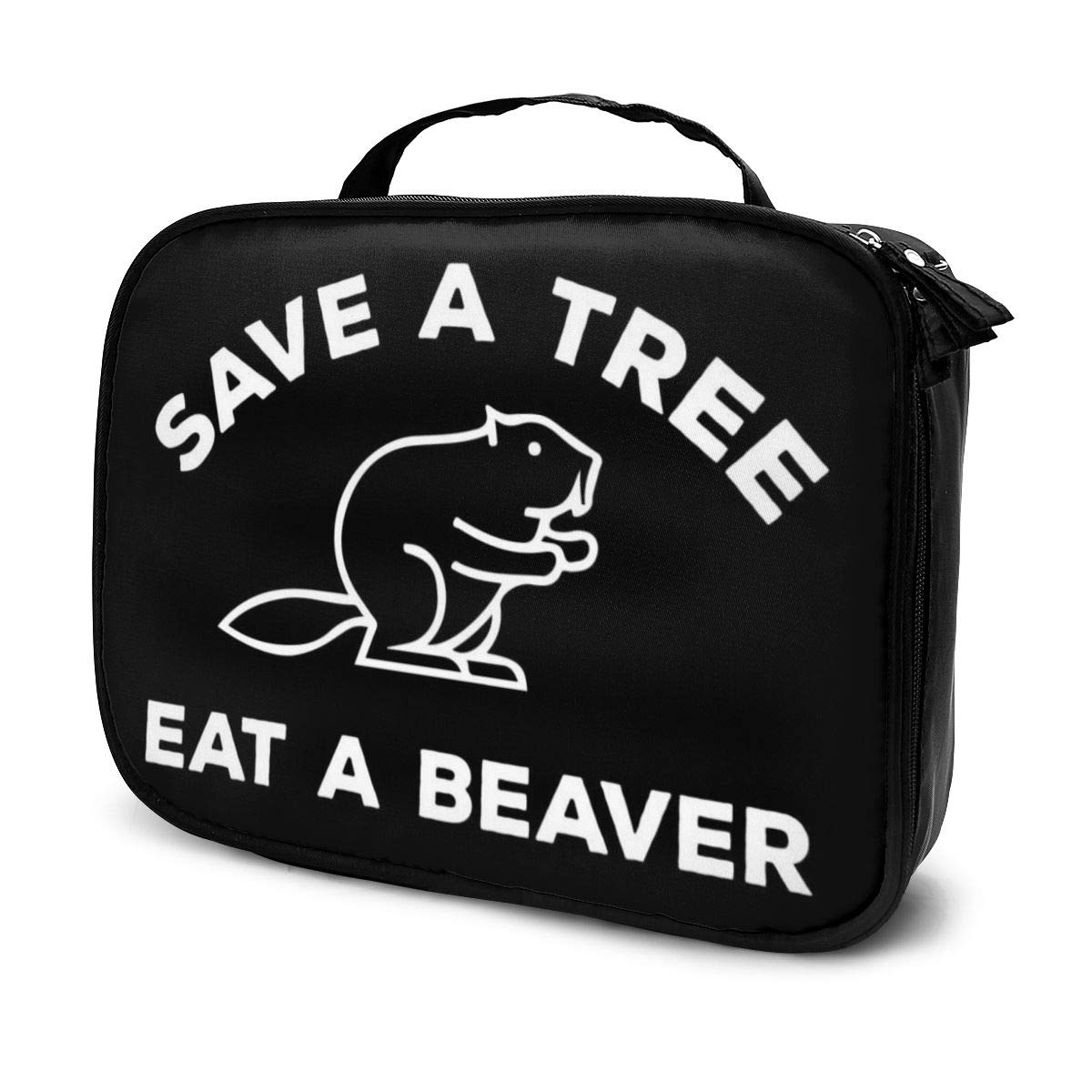 Multi-Functional Bag With Compartments Save A Tree Eat A Beaver Professional Cosmetic Pouch Travel Kit Makeup Boxes Makeup Bag
