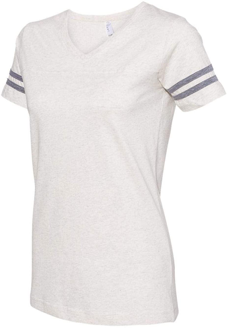 LAT Women's Football T-Shirt, Natural Heather/Grnite Heather, Large