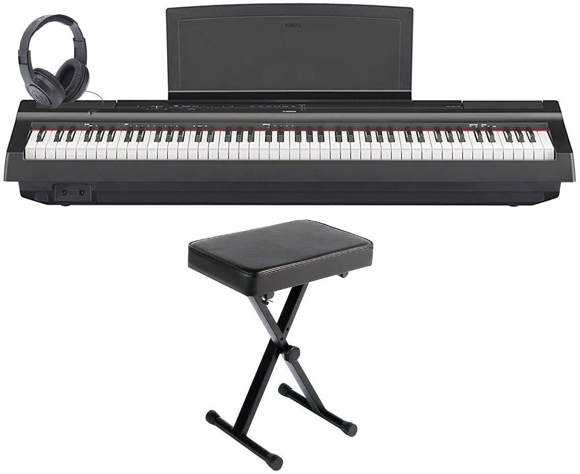 Yamaha P125B 88-key Black Digital Piano w/ PA150 Power Adapter, Sustain Pedal, Bench, and Headphones