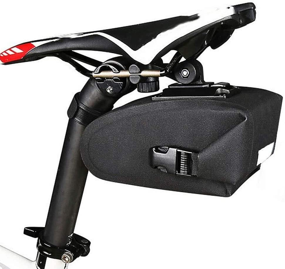 DSY Bike Saddle Bag,1.2L Cycling Seat Tail Rear Pouch,with Reflective Strip and Install The Buckle,Waterproof Design,Can Hang Tail Lights