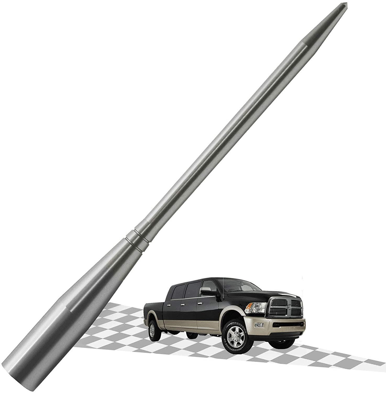 Elitezip Antenna Compatible with Dodge RAM Trucks 1994-2018 | Optimized AM/FM Reception with Tough Material | 6.75 Inches - SilverTitanium