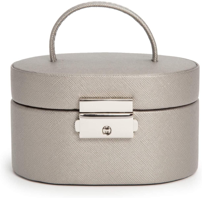 WOLF Heritage Mini Oval Box, Pewter Saffiano