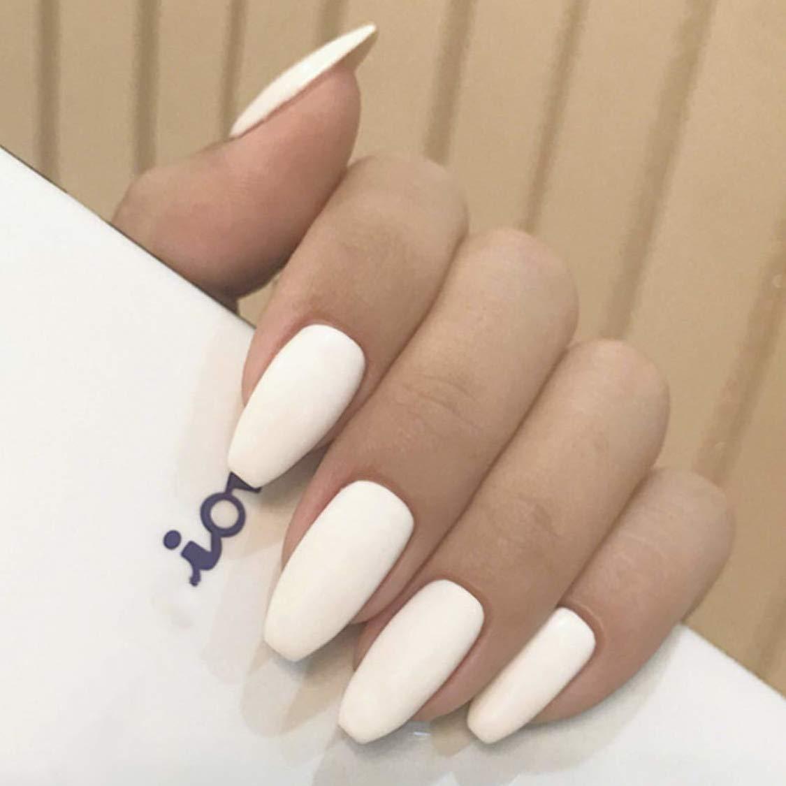 24 Pcs Fake Nails Matte Coffin Nails White Full Cover Ballerina Nail Art Medium False Gel Nails Tips Sets for Women Teens Girls (White)
