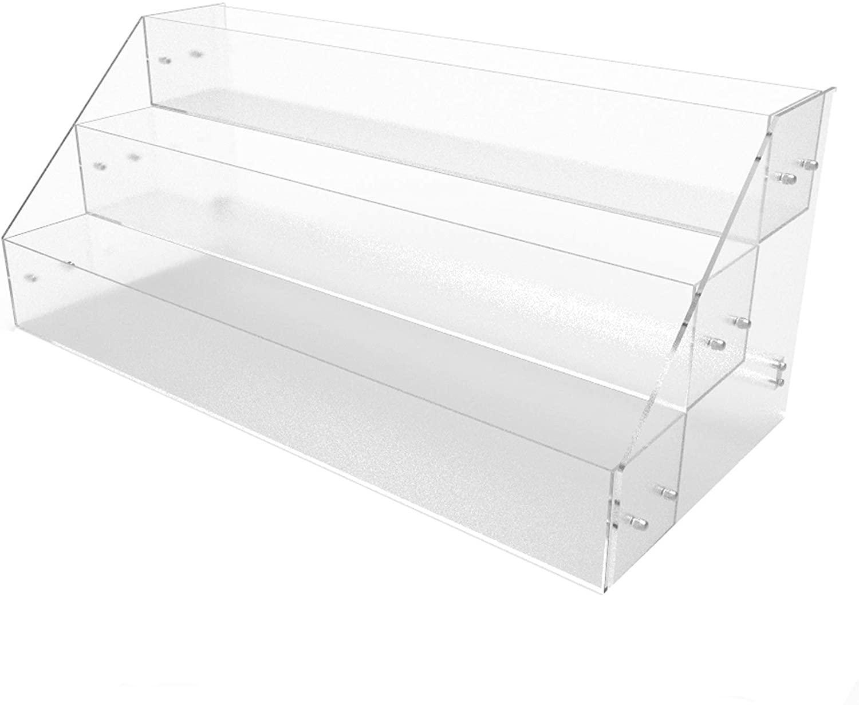 FixtureDisplays Acrylic Candy Bin 3 Tier Literature Rack Dry Food Display Plexiglass Retail Bin Brochure Holder 100817-NF