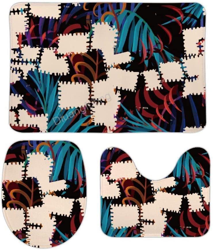 Bathroom Bath Mat 3 Piece Set Tropical Leaves Patchword Non-Slip Pedestal Rug + Lid Toilet Cover + Bath Mat Set