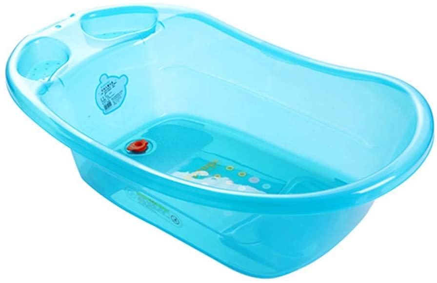 SqsYqz Baby Bath Tub for Men and Women Plastic Thickening Reclining Plus Size Tub Children Bathing Basin Transparent Baby Tub,Blue