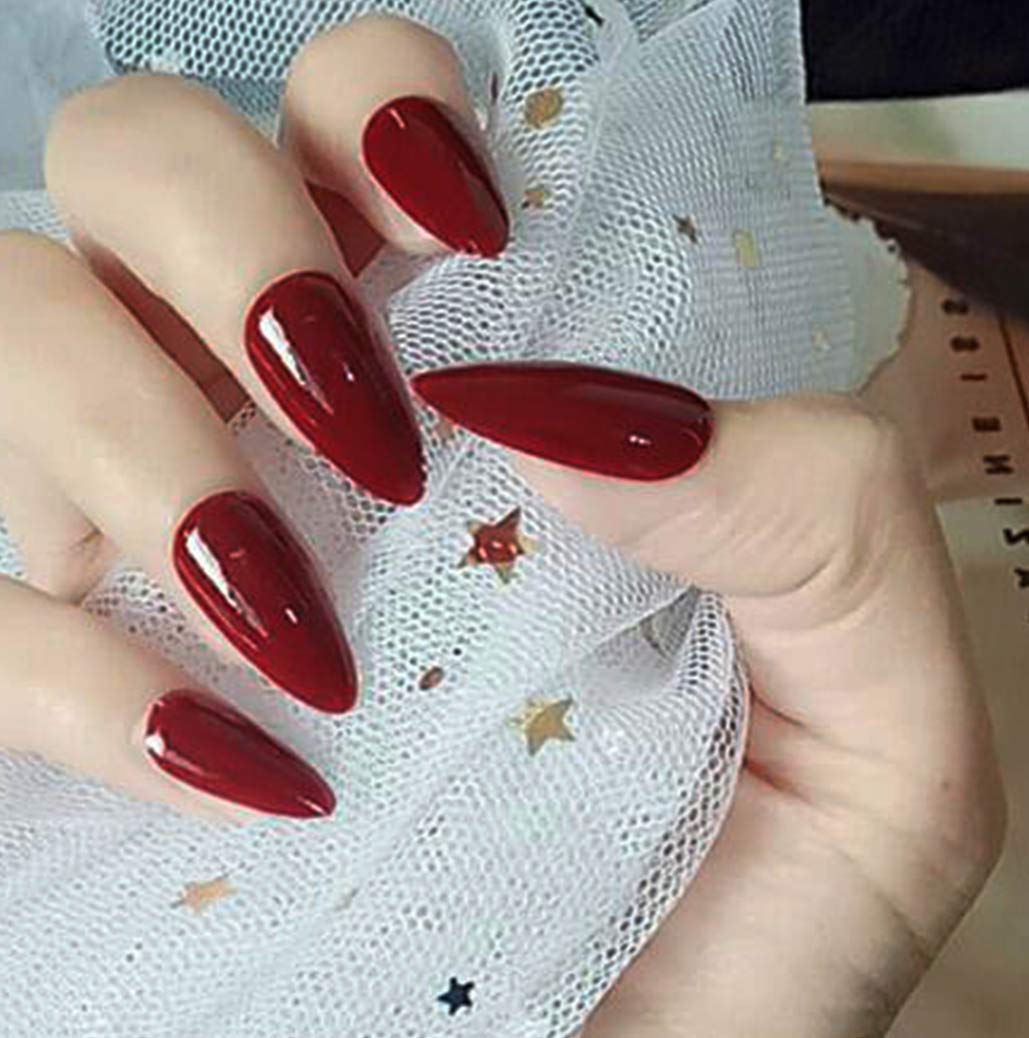 Eappy Glossy Press on Nails Red Long Fake Nails Full Cover Acrylic False Nail Tips Art Jewelry for Women and Girls 24PCS (Red)