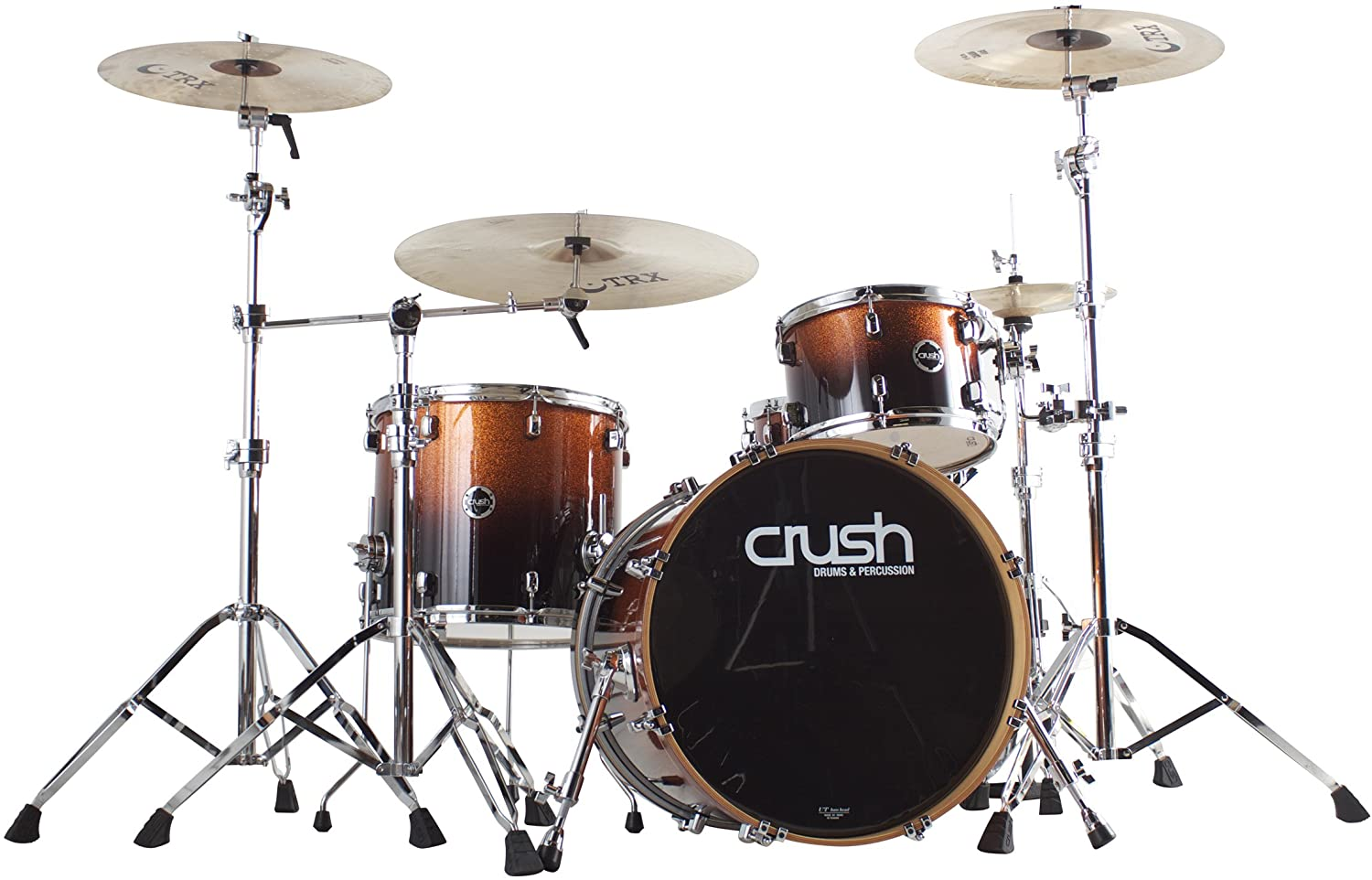 Crush Drums & Percussion S3M428-701 4-Piece Drum Shell Pack, Copper Sparkle Fade