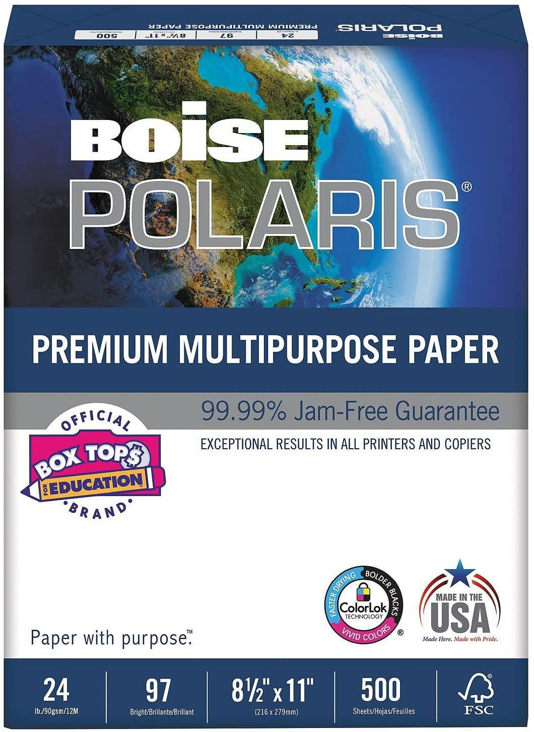 Boise - POLARIS Copy Paper, 8 1/2 x 11, White - 5,000 Sheets/Carton ES