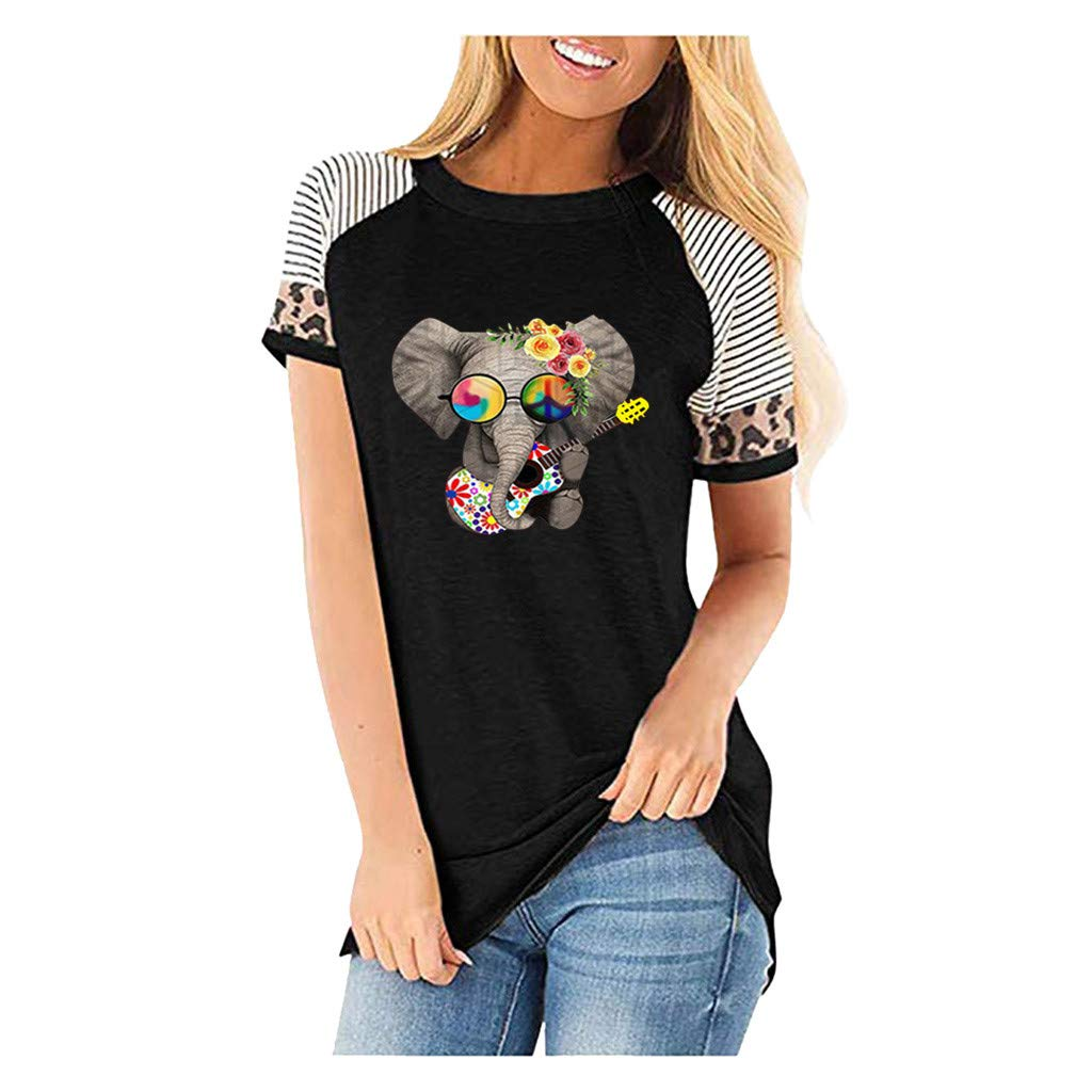 Casual Tops and Shirts, Women Leopard Short Sleeves O-Neck Printed Casual Tops T-Shirt, Black, 3X-Large