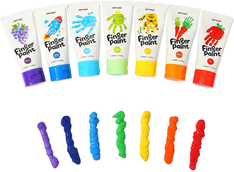 Jar Melo Finger Paint 7 Colors Set Washable Kids' Finger Paint, 7 Count Paints Supplies Gift for Kids,Toddler