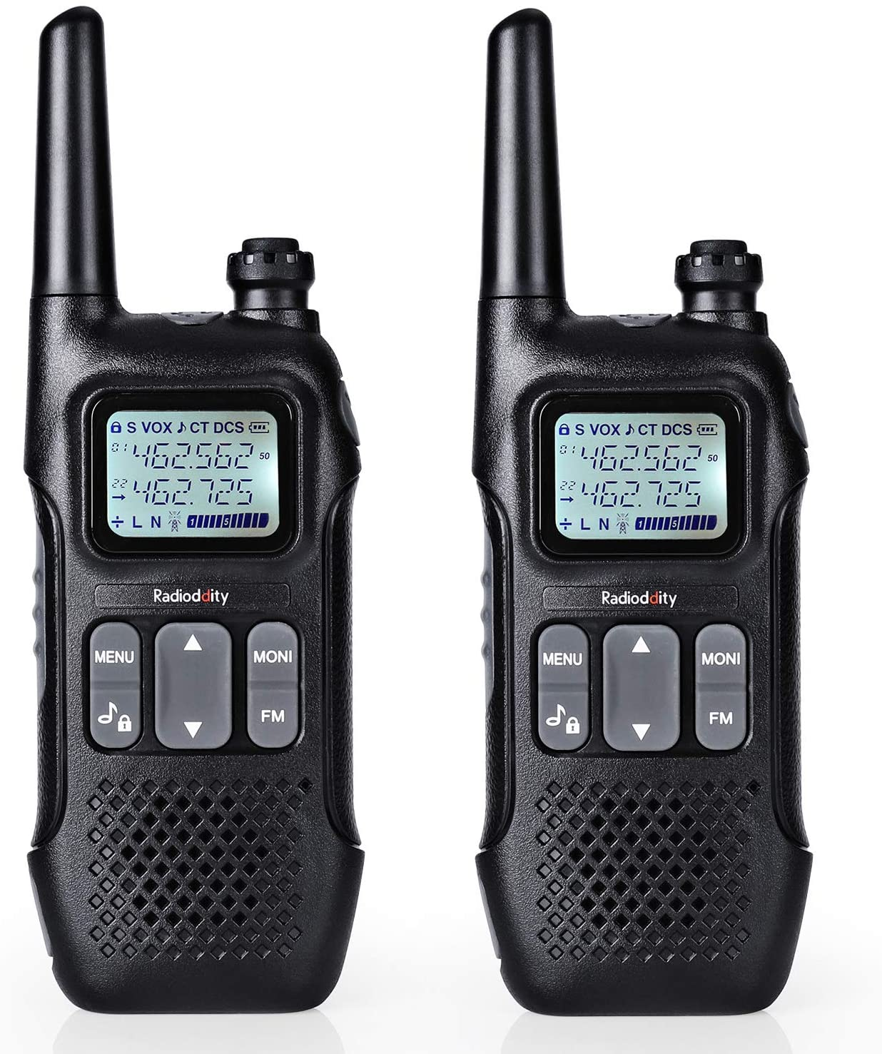 Radioddity FS-T1 FRS Two-Way Radio Long Range License-Free Walkie Talkies NOAA, 22 Channels 154 Privacy Codes with FM, Earpiece, USB Charging, 2 Pack