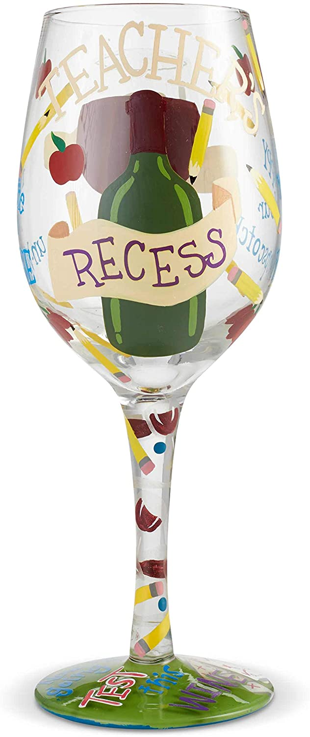 Enesco Designs by Lolita Teachers Recess Hand-Painted Artisan Wine Glass, 15 Ounce, Multicolor