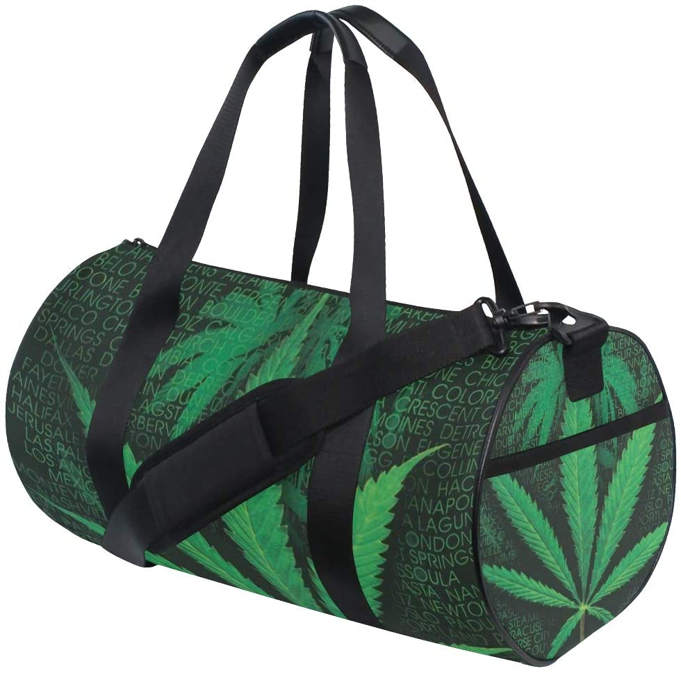 Brighter Words Marijuana Weed Fitness Sports Bags Gym Bag Travel Duffel Bag for Mens and Womens