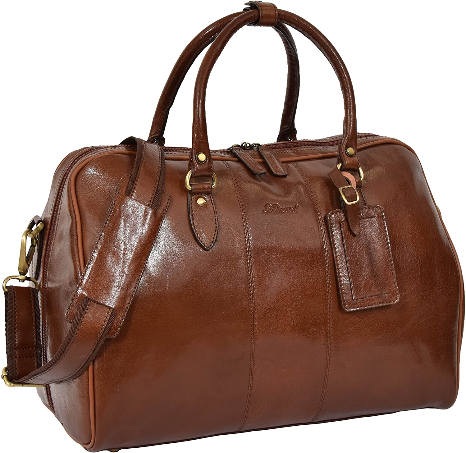 Leather Holdall Casual Cross Body Style Monaco Chestnut