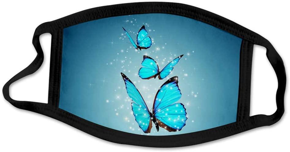 JIUDASG Butterfly Print Dustproof Fashion Ice Silk Fabric Washable Reusable Breathable Cloth Face Bandana