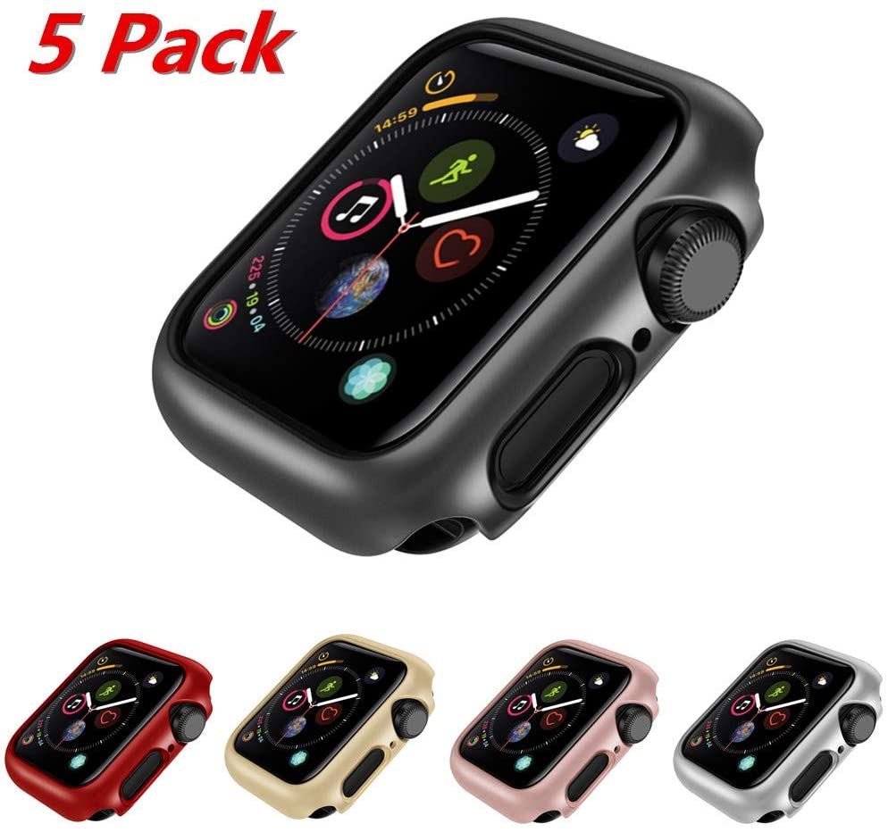 Watch Series 5 Cover, TechCode 5-Pack iWatch Thin Anti-Scratch Guard Case Lightweight Hard Shockproof Protective Bumper Cover Slim fit for Apple Watchband iWatch Series 4/5 (40mm)