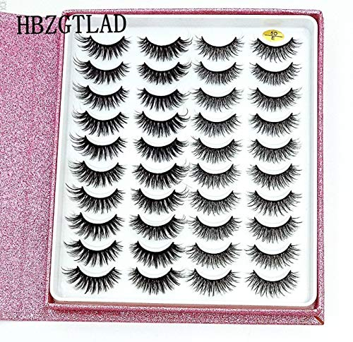 HBZGTLAD 20 Pairs Flash packaging 3D Soft Mink Hair False Eyelashes Handmade Wispy Fluffy Long Lashes Natural Eye Makeup Tools (5D-E)