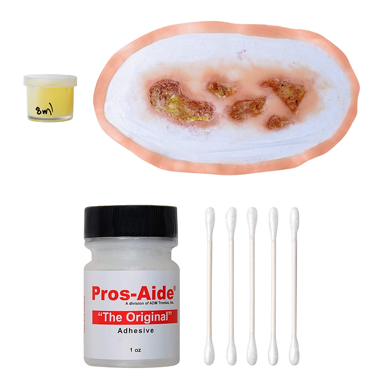 Forensic FX Infected Wound + Synthetic Pus Kit, Pre-Colored Silicone Prosthetic Appliance, Cotton Swabs and 1oz Pros-Aide Adhesive, Special Effects Makeup for Halloween and Theater