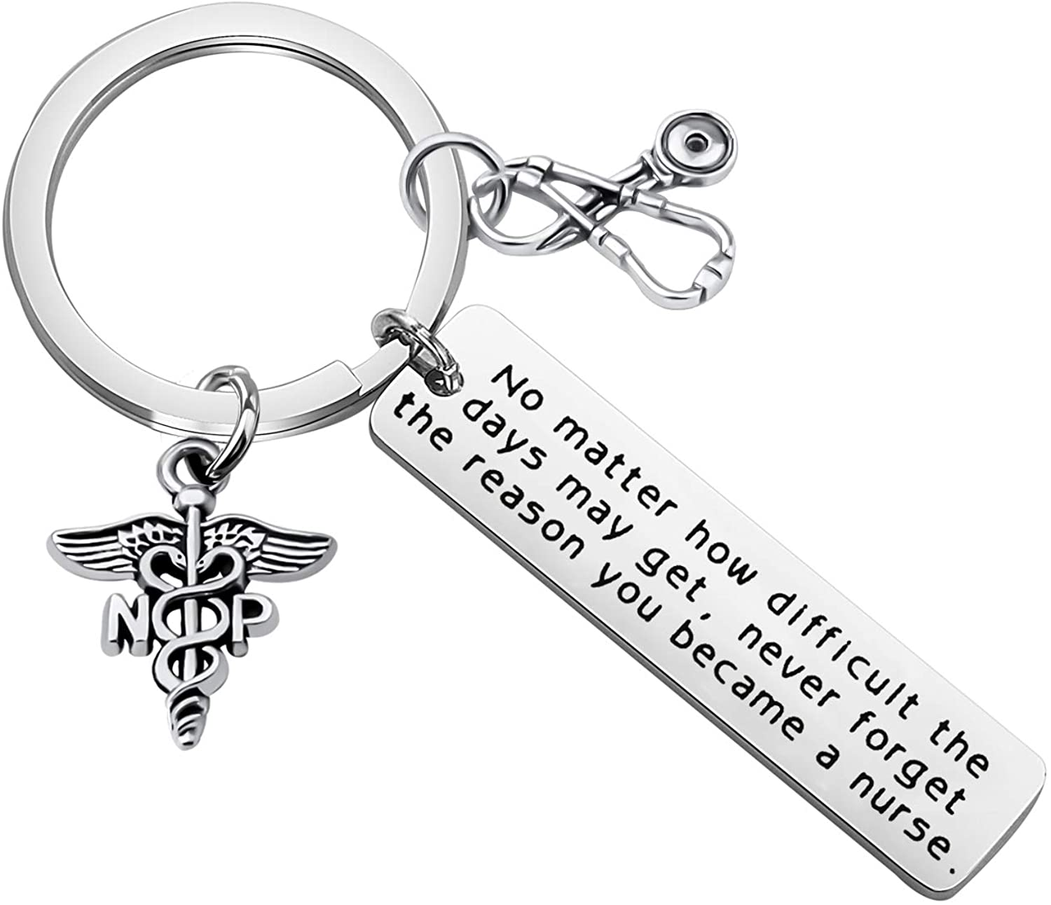FUSTMW Nurse Practitioner Gift NP Key Chain NP Gift Stethoscope Charm Jewelry Nurse Gift NP Graduation Gift for Nurse Practitioner