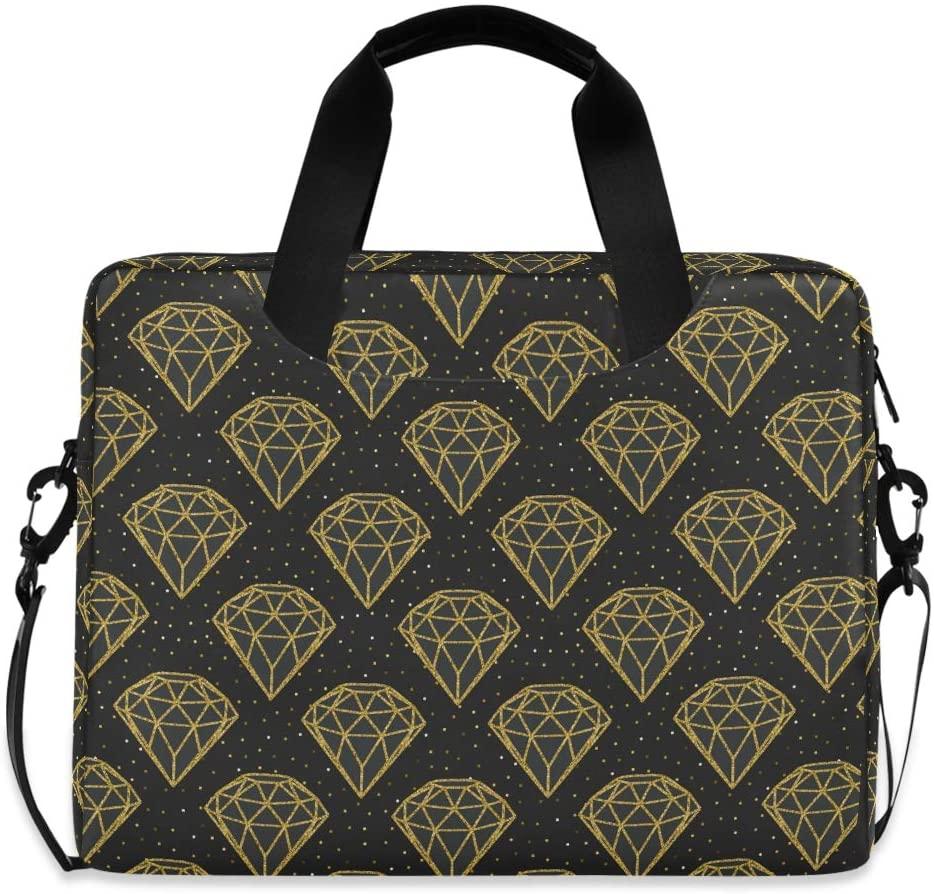 Laptop Bag Briefcase Shoulder Bag - Geometric Golden Foil Diamonds 15.6 Inch Tote Bag Laptop Messenger Shoulder Bag Laptop Sleeve, Great to Business, Casual